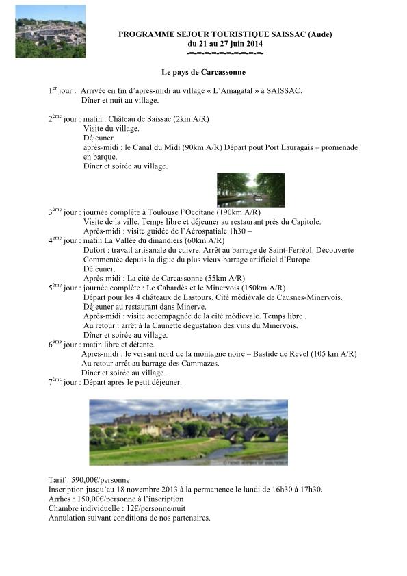 Séjour touristique SAISSAC (Aude)